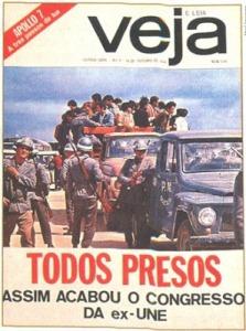 Ditadura - Estudantes presos no XXX Congresso da Une, em Ibiuna, SP, 1968. Capa da Revist Veja, 16 10 1968.