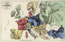 Mapa europeu de conflitos em 1870