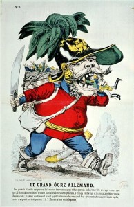 XIR189494 The Giant German Ogre, caricature of Otto von Bismarck (1815-98) (colour litho) by French School, (19th century); colour lithograph; Bibliotheque Nationale, Paris, France; (add. info.: fought for unification of Germany); Giraudon; French, out of copyright