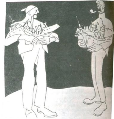 O armamentismo e rivalidade bélica entre o Reino Unido e a Alemanha. Charge, 1910..jpg